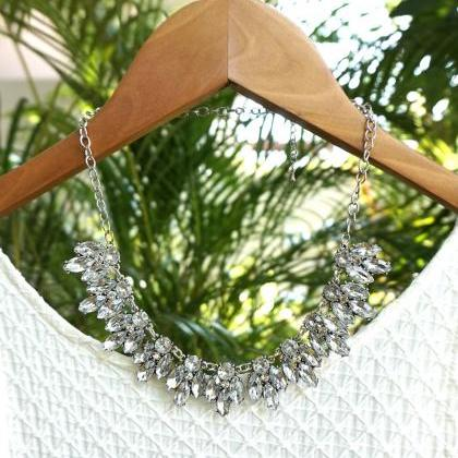 White crystal statement necklace fo..