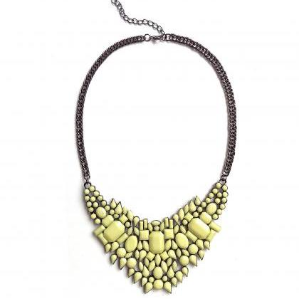Yellow statement necklace, yellow g..