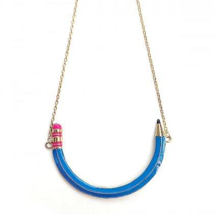 Blue pencil statement necklace, bac..