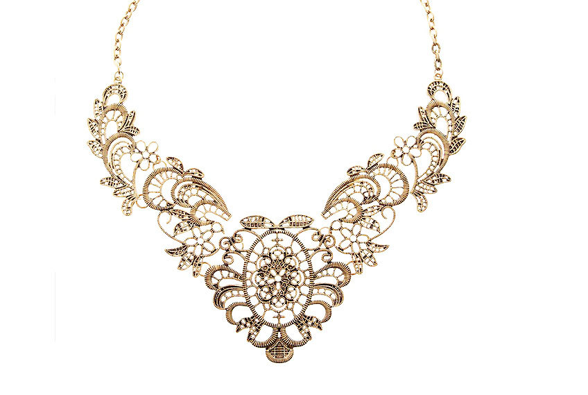 Filigree Statement Necklace Filigree Bib Necklace Gold Collar