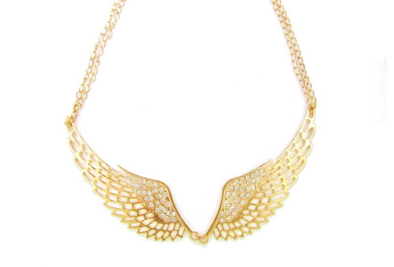 Gold Angel Wings Statement Necklace Golden Collar Necklace