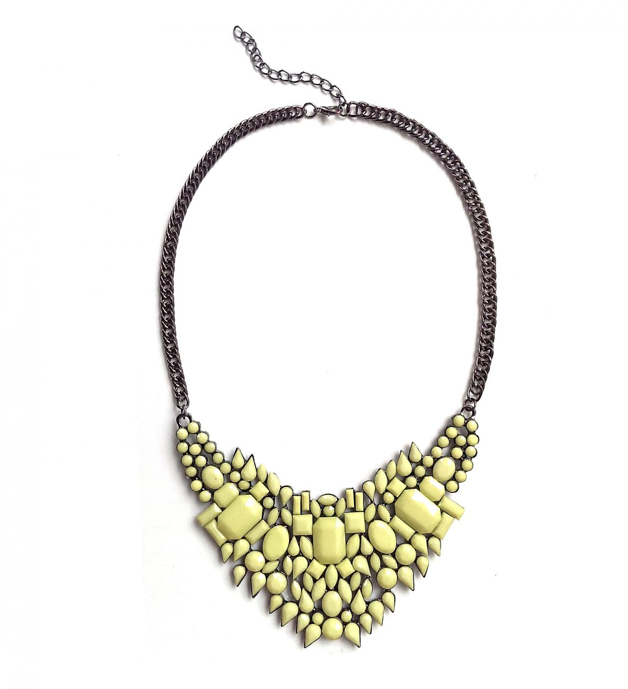 Yellow statement necklace, yellow geometric bib necklace, gift ideas under 15