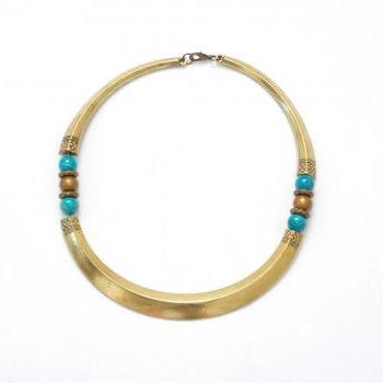 Tribal choker necklace with blue beads, tribal collar necklace