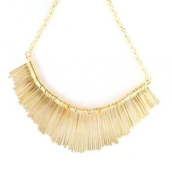 Gold fringe necklace, gold statement necklace, gold wedding necklace, statement necklace, bib necklace