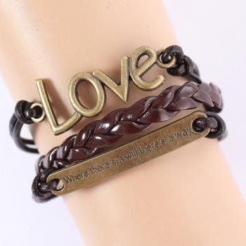 Brown friendship charm bracelet with love and quote charm