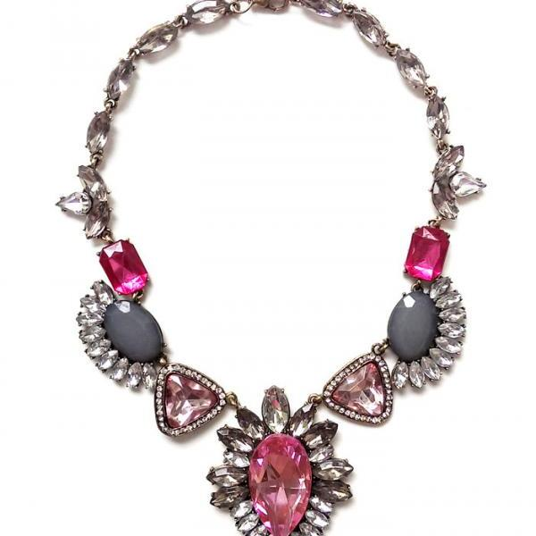 Pink statement necklace, pink crystal rhinestone bib necklace