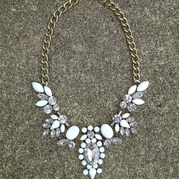 White statement necklace, white bib necklace, white necklace