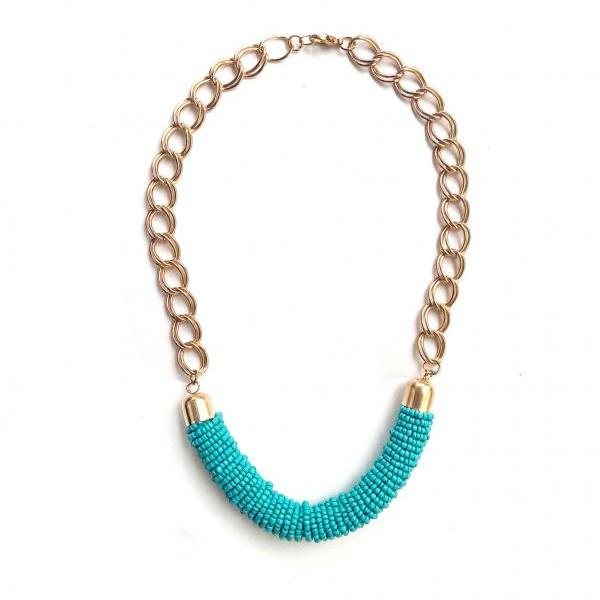 Blue statement necklace, blue bib beadwork necklace