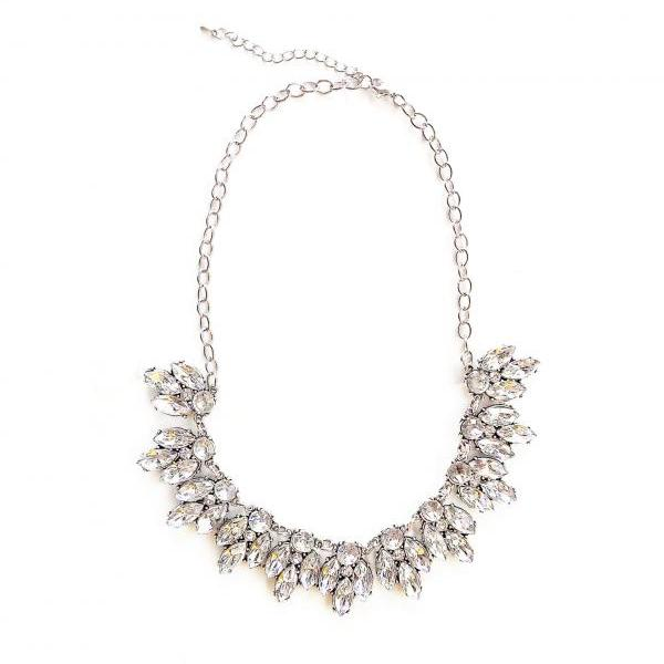 White crystal statement necklace for bridesmaid bridal wedding jewelry gift idea