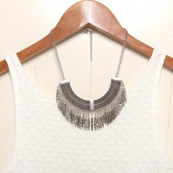Silver statement necklace, silver bib necklace, silver tassels necklace