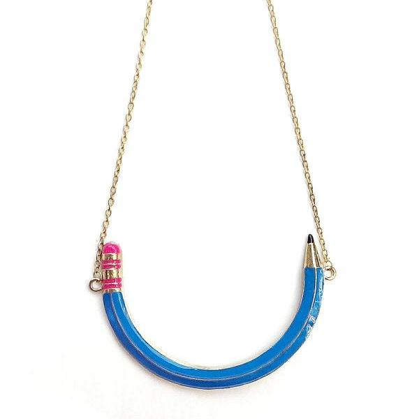 Blue pencil statement necklace, back to school bib necklace